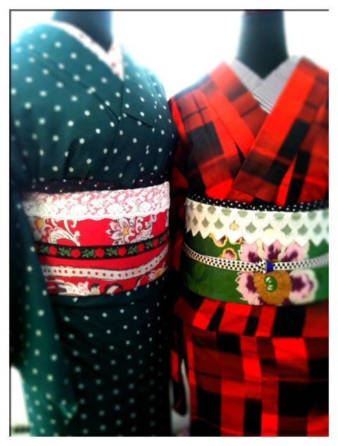 赤と緑の着物でおそろっぽくするのも◎