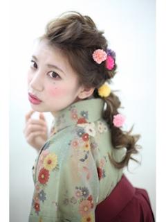 ラプンツェル風のお花編み込みヘア♡