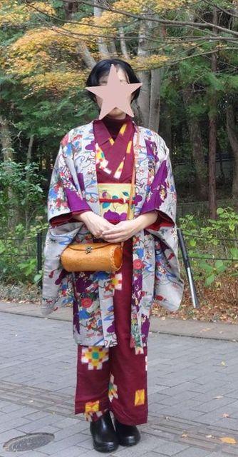 """梅子さんはTwitterを使っています: """"長岡天満宮へ散歩。紅葉が綺麗でした。タートルネックにブーツ。半幅帯を結ばずクリップで留めただけ。着付けがあっという間でした。#着物 #京都 https://t.co/j4mYEau5gF"""" (3951)"""