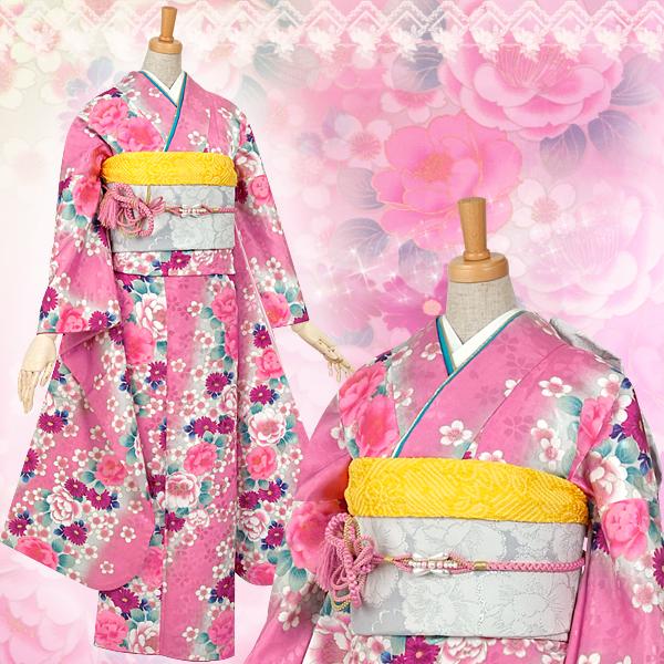 ピンクにグリーンぼかし 桜と菊