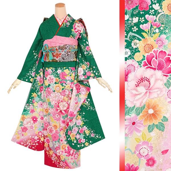 緑 桜熨斗に牡丹☆