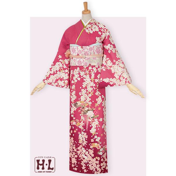 ローズピンク 枝垂れ桜に扇面