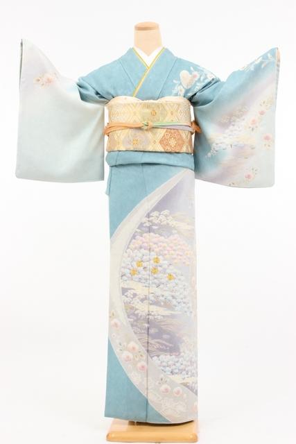 ブルーボカシ/桜柄オボロ染め風