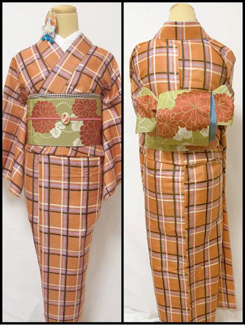 ローシェンナオレンジにボーイッシュなチェックの銘仙ひとえ着物
