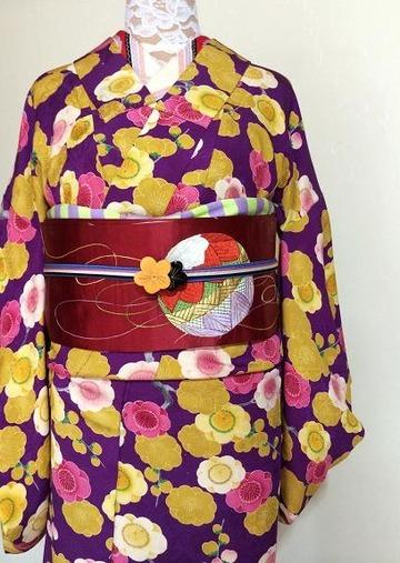 梅のアンティーク着物