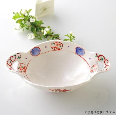 ②手付きが可愛い♪手描き赤絵のお皿