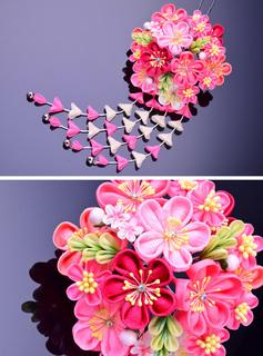 つまみ細工 髪飾りピンク 桃色 (7527)